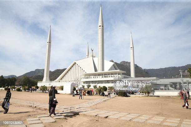 A photo taken on February 09 shows a Faisal Mosque located on the foothills of Margalla Hills in Pakistani capital Islamabad Construction of the...