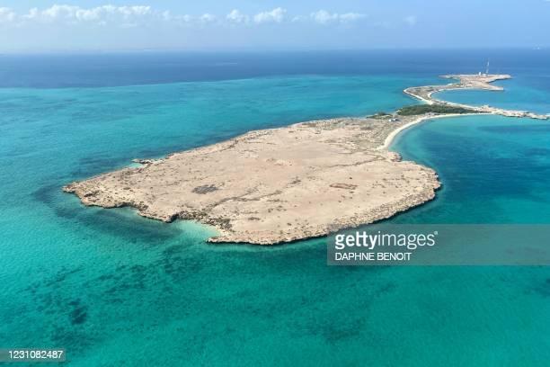 Photo taken on February 1, 2021 shows the Maskali island, off the coast of Djibouti.