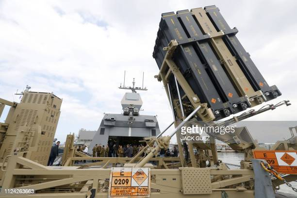 Photo taken on February 12 shows an Israeli naval Iron Dome defence system, designed to intercept and destroy incoming short-range rockets and...