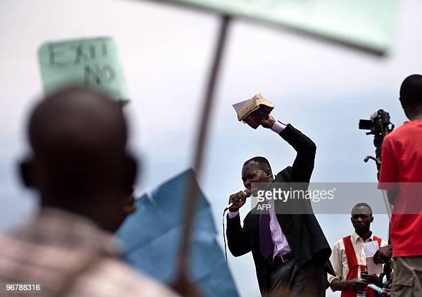 Photo taken on February 14 2010 shows a religious leader making an address during a demonstration by Ugandans against homosexuality at Jinja Kampala...