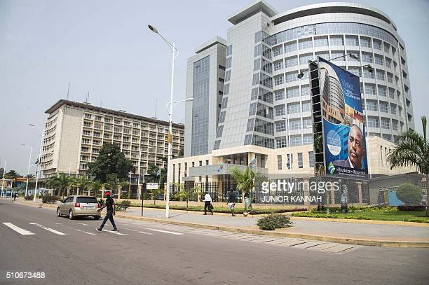 Photo taken on February 16, 2016 shows the government building in Kinshasa's Gombe district, Democratic Republic of the Congo. The usually bustling...