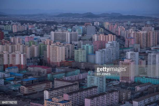 A photo taken on February 17 2017 shows a general view of the northeastern Pyongyang city skyline / AFP / Ed JONES