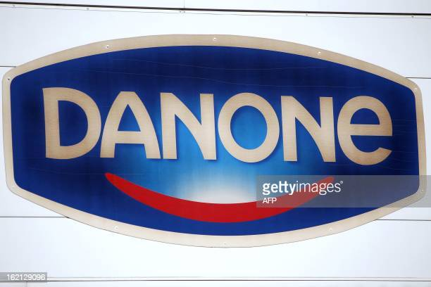 A photo taken on February 19 2013 shows French Dairy firm Danone's logo at the plant in FerrieresenBray northwestern France French food industry...
