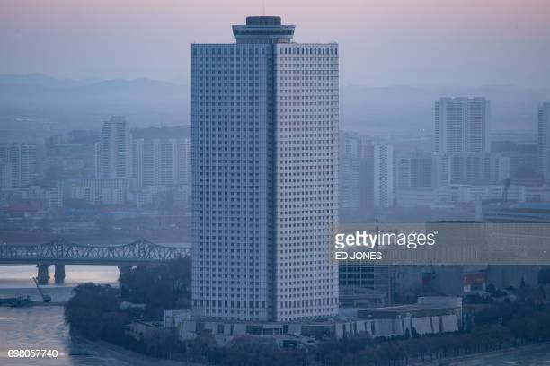 A photo taken on February 2 2017 shows the Yanggakdo International Hotel in Pyongyang where US student Otto Warmbier was alleged to have removed a...