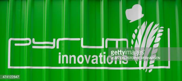 A photo taken on February 20 2014 shows the logo at the headquarters of the GermanFrench company Pyrum Innovations in Dillingen western Germany which...