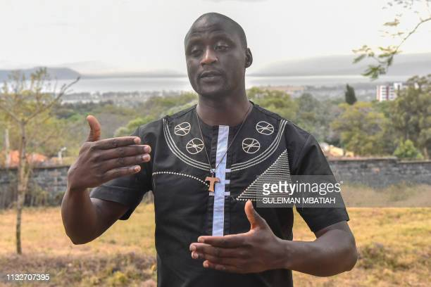 A photo taken on February 21 shows Peter Tabichi a mathematics and physics teacher at Keriko Mixed Day Secondary School in Pwani Village who won the...