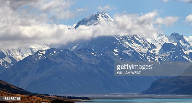A photo taken on February 25 shows New Zealand's highest mountain Mount Cook also known by it's Maori name of Aoraki which sits in the Southern Alps...