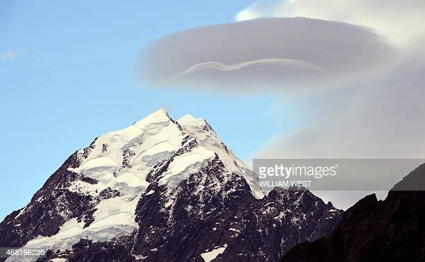 A photo taken on February 25 shows the peak of New Zealand's highest mountain Mount Cook also known by it's Maori name of Aoraki which sits in the...