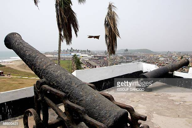 Photo taken on February 4 2008 of canons placed in a defensive postion to protect Elmina castle near Cape Coast US President Barack Obama during his...