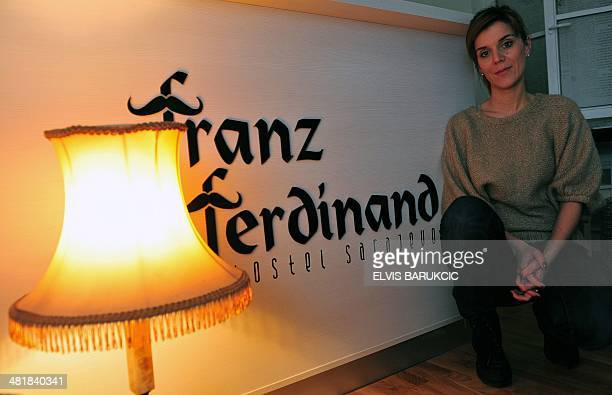 A photo taken on February 5 2014 shows Emela Burdzovic owner and manager of the boutique hotel Franz Ferdinand dedicated to the assassination of...