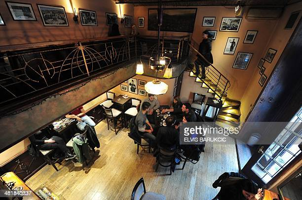 A photo taken on February 5 2014 shows the inside of the 'Von Habsburg' caffee in Sarajevo dedicated to the assassination of AustroHungarian heir to...