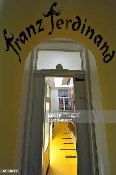 A photo taken on February 5 2014 shows the main entrance to the boutique hotel 'Franz Ferdinand' in Sarajevo dedicated to the assassination of...