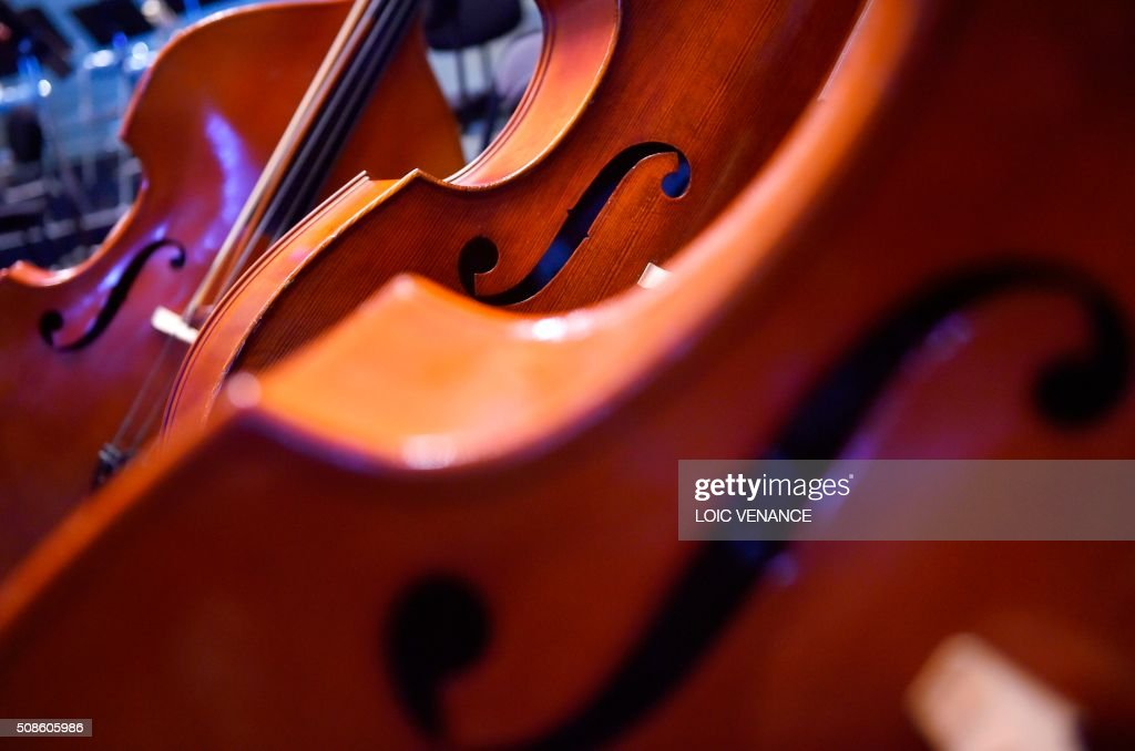 Photo taken on February 5, 2016 shows cellos of the Ural Philharmonic Orchestra during the 'Folle Journee de Nantes' classical music festival in Nantes, western France. / AFP / LOIC