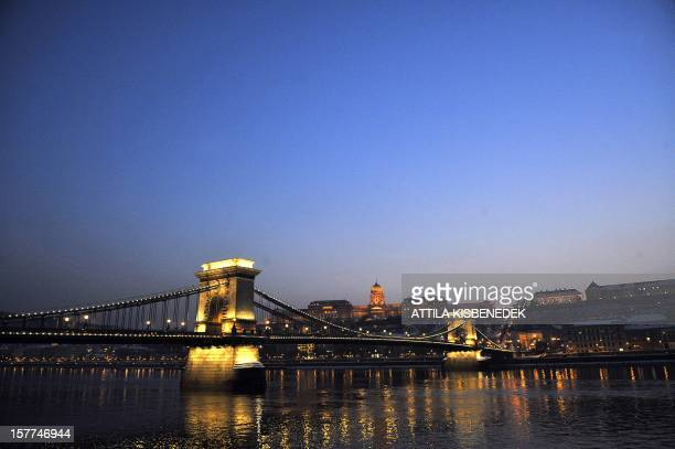 Photo taken on February 8 2010 shows Hungary's oldest bridge the Chain Bridge over the Danube River in downtown Budapest The Chain Bridge was the...