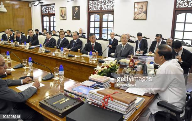 Photo taken on Jan 25 2018 shows Sri Lankan President Maithripala Sirisena and members of the Japan Chamber of Commerce and Industry meeting in...