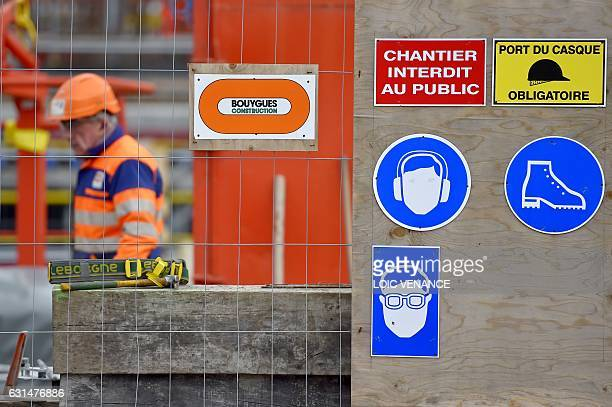 A photo taken on January 10 2017 at the SaintNazaire harbour in MontoirdeBretagne western France shows the French industrial group Bouygues'...