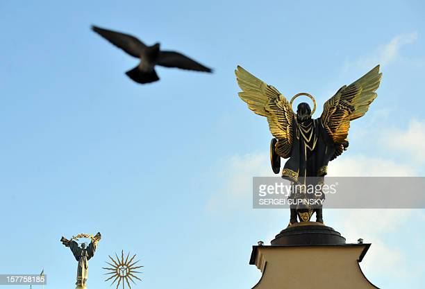 A photo taken on January 11 2012 shows a pigeon flying over the monument to Archangel Gabriel the guardian of Kiev in the Ukrainian capital Ukrainian...