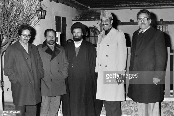 """Photo taken on January 16, 1979 shows Abolhassan Bani Sadr , the younger son of Ayatollah Ruhollah Khomeini, """"right-hand"""" of his father, Ahmad..."""