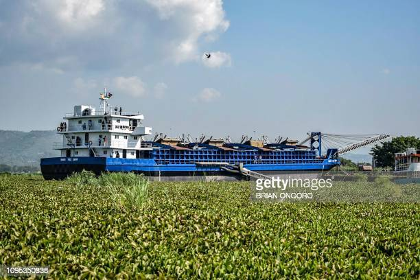 Photo taken on January 18 shows MV Mango Tree dredger as it lands at the Kisumu Port docks on Lake Victoria, western Kenya. - The MV Mango Tree, is a...