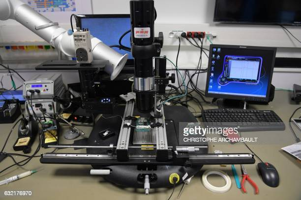 A photo taken on January 20 2017 shows equipment used in the computing department at the Institut de recherche criminelle de la Gendarmerie Nationale...