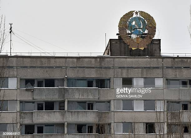 A photo taken on January 22 2016 shows a coat of arms of the former Soviet Union on the roof of an apartment building in the ghost city Pripyat near...