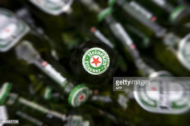 A photo taken on January 24 2009 shows Heineken beer bottles in Haarlem outside Amsterdam Dutch beer maker Heineken said on January 11 2010 it would...