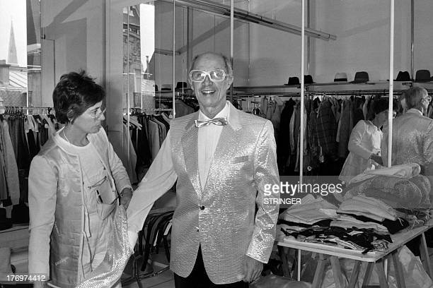 A photo taken on January 30 1986 shows French fashion designer Andre Courreges and his wife Coqueline in his atelier in Paris AFP PHOTO