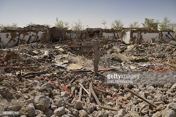 A photo taken on January 30 2013 shows the bombed out villa of late Libyan dictator Moamer Kadhafi near the airport of the northern Malian city of...