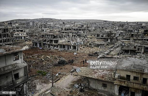 A photo taken on January 30 2015 shows the eastern part of the destroyed Syrian town of Kobane also known as Ain alArab Kurdish forces recaptured the...