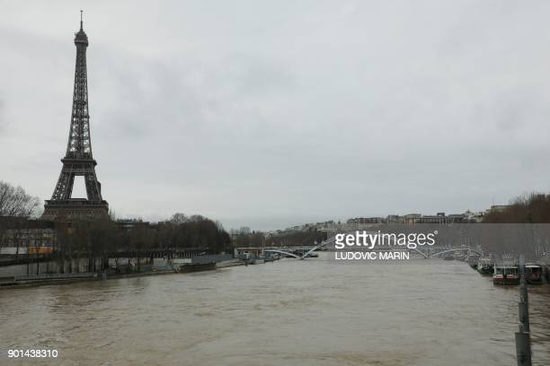 A photo taken on January 5 2018 shows waters of the river Seine which level has risen in front of the Eiffel tower in Paris PHOTO / ludovic MARIN