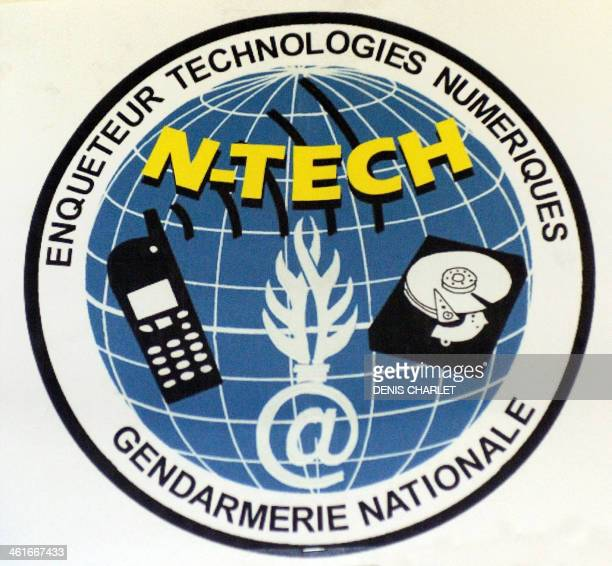 A photo taken on January 9 2014 shows the logo of the NTECH squad of the French gendarmerie's BDRIJ unit specialized in new technologies in Arras...