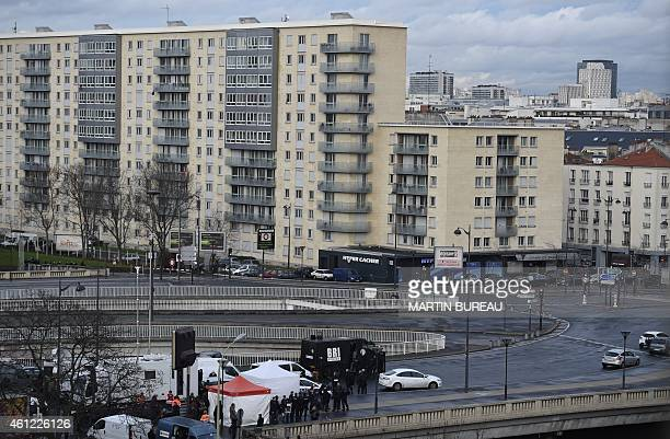 A photo taken on January 9 2015 shows a general view of members of the French police forces BRI gathered near the Hyper Cacher kosher grocery storein...
