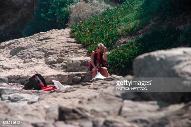 Photo taken on July 14 1997 shows Britain's Lady Diana spending holidays near the property of her friend Dodi AlFayed in Saint Tropez on the French...