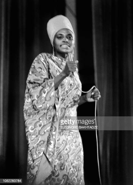 A photo taken on July 15 1969 shows South African singer Miriam Makeba performing during the Panafrican Festival in Algiers Makeba the singer who...