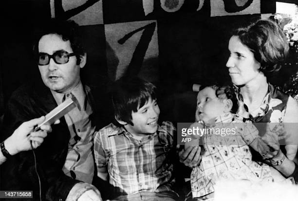 A photo taken on July 16 1974 shows Beate Klarsfeld waiting in the VIP's reception room with children Arno and Lida and husband Serge at Lod airport...