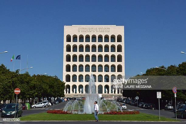 """Photo taken on July 16, 2014 shows the """"Palazzo della civilta del lavoro"""" or """"Square Colosseum"""", a fascist architecture icon in the Esposizione..."""