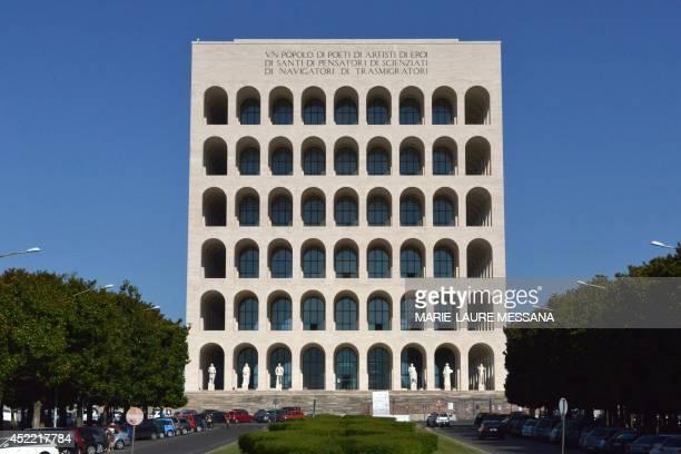 A photo taken on July 16 2014 shows the Palazzo della civilta del lavoro or Square Colosseum a fascist architecture icon in the Esposizione...