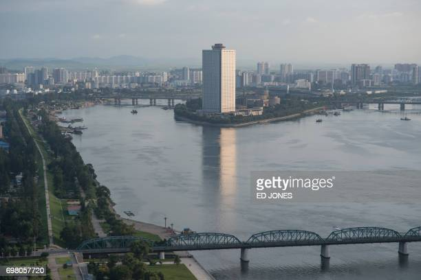 A photo taken on July 17 2016 shows the Yanggakdo International Hotel in Pyongyang where US student Otto Warmbier was alleged to have removed a...
