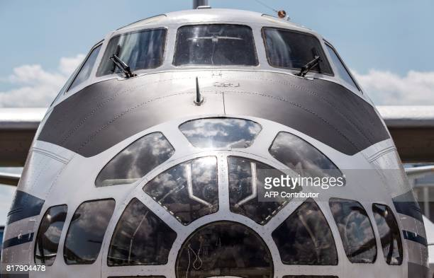 Photo taken on July 18, 2017 shows the front of the Russian Antonov 30 B military plane exhibited at the annual air show MAKS 2017 in Zhukovsky, some...