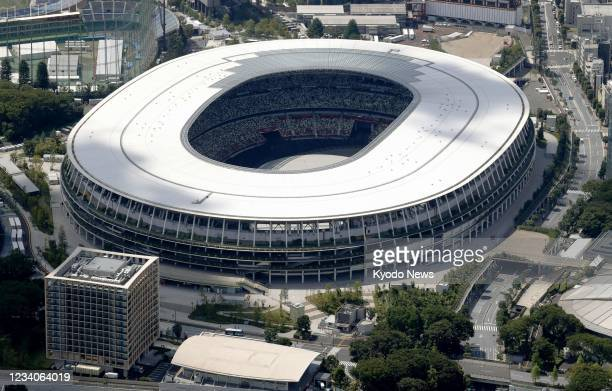 Photo taken on July 19 from a Kyodo News helicopter shows National Stadium ahead of the July 23 Tokyo Olympics opening ceremony.