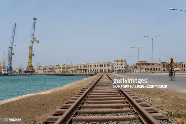 Photo taken on July 22, 2018 shows a general view of Old Massawa with the port and the train tracks that leads to the Eritrean capital Asmara. -...
