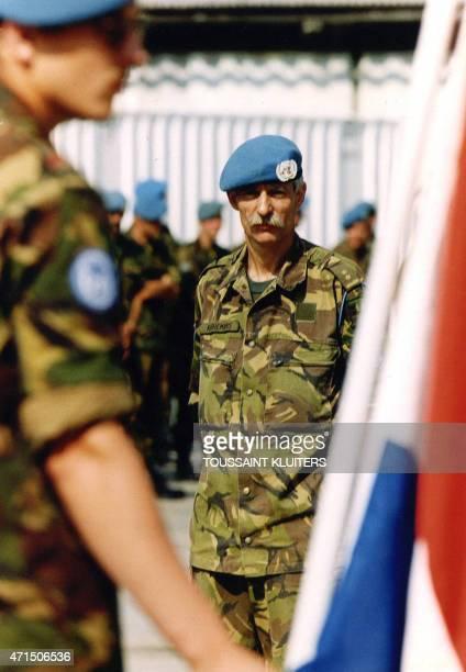 Photo taken on July 23 1995 in Zagreb shows Colonel Thomas JP Karremans commander of 'Dutchbat' troops in Srebrenica at the time of the Srebrenica...