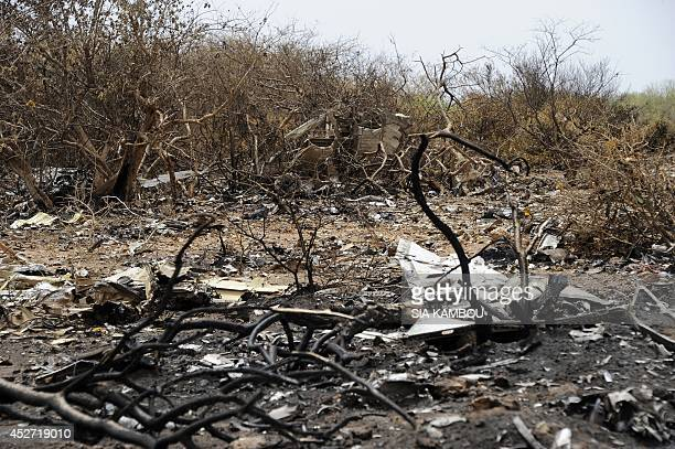 A photo taken on July 26 2014 shows debris of the Air Algerie Flight AH 5017 scattered at the crash site in Mali's Gossi region west of Gao UN...