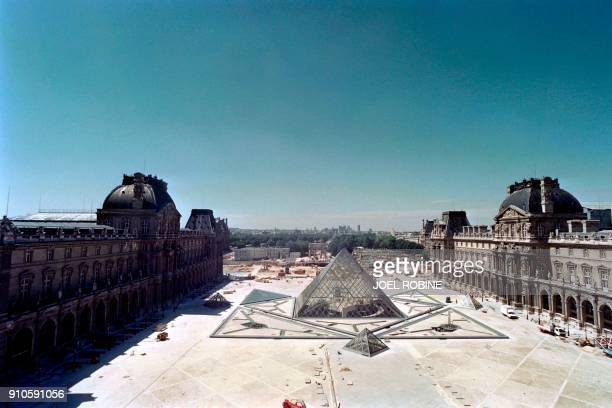 Photo taken on July 28 1988 shows a general view of the construction site of the Louvre Pyramid designed by ChineseAmerican architect IM Pei in the...