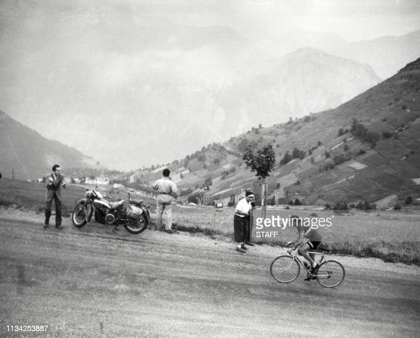 Photo taken on July 4 1952 of the Italian Fausto Coppi in the climb of Alpe d'Huez during the 10th stage LausanneAlpe d'Huez the Tour de France 1952