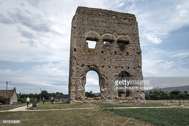 A photo taken on July 4 2014 shows the ruins of the Roman temple of Janus in the centraleastern French city of Autun where archaeologists and...