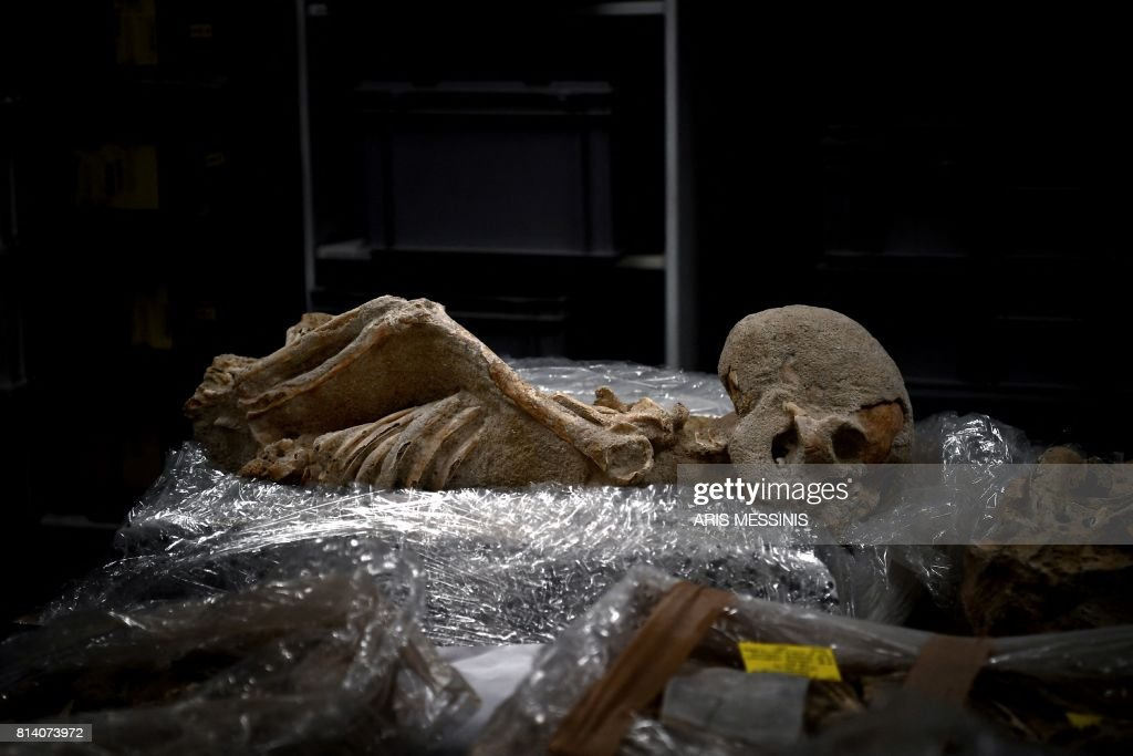 A Photo Taken On July 7 2017 Shows A Human Skeleton With The Hands
