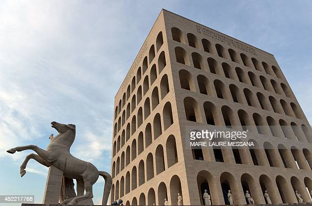 """Photo taken on June 10, 2014 at sunset shows the """"Palazzo della civilta del lavoro"""" or """"Square Colosseum"""", a fascist architecture icon in the..."""
