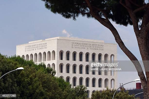 """Photo taken on June 10, 2014 shows the """"Palazzo della civilta del lavoro"""" or """"Square Colosseum"""", a fascist architecture icon in the Esposizione..."""