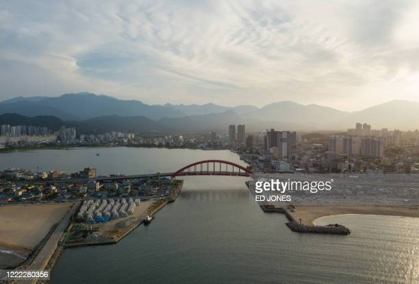 A photo taken on June 17 2020 shows a general view of the 'Abai village' area of Sokcho From North Korean party headquarters to holiday homes to...
